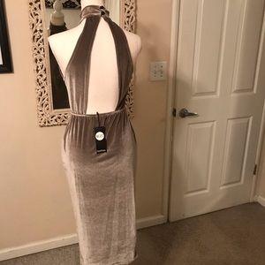 Silver Velvet Bodycon Dress